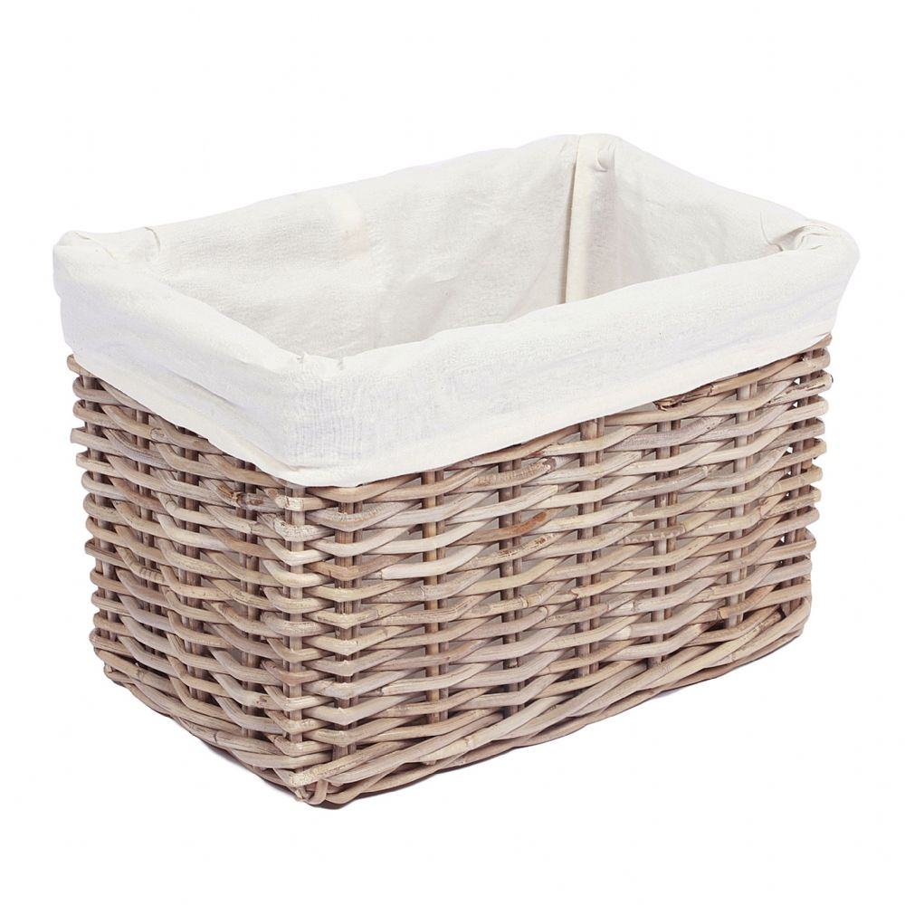 Rectangular Baskets with Hole Handles & Lining in Kooboo Grey Style 2